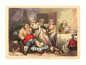 Thomas Rowlandson (British, 1756 1827), Comfort in the Gout, 1785, Hand Colored Etching