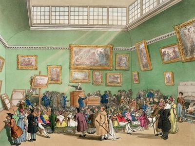 Christie's Auction Room, Aquatinted by J. Bluck by Thomas Rowlandson