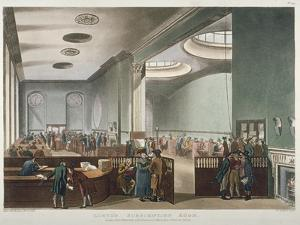 Interior View of Lloyds Subscription Room in the Royal Exchange, City of London, 1809 by Thomas Rowlandson
