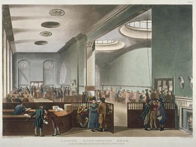 Interior View of Lloyds Subscription Room in the Royal Exchange, City of London, 1809