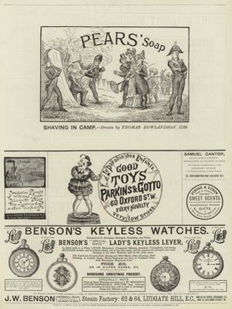 Page of Advertisements by Thomas Rowlandson