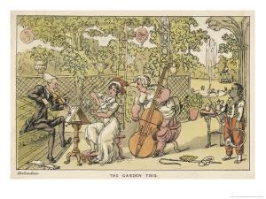 String Trio in the Garden with a Potential Brass Player Waiting for His Opportunity on the Right by Thomas Rowlandson