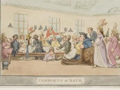 """The Public Breakfast, Plate 11 from the Series """"The Comforts of Bath"""", 1798"""