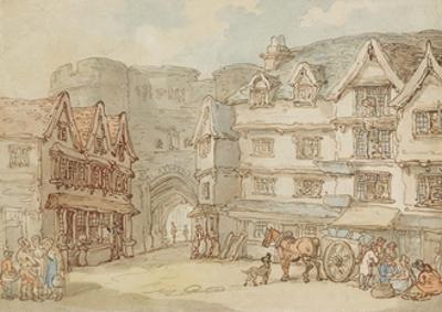 The South Gate, Exeter, C.1810 by Thomas Rowlandson