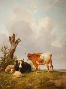 View in Stour Valley with Two Cows by Thomas Sidney Cooper