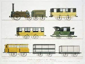 """Coaches Employed on the Railway, Plate 7 from """"Liverpool and Manchester Railway"""" by Thomas Talbot Bury"""