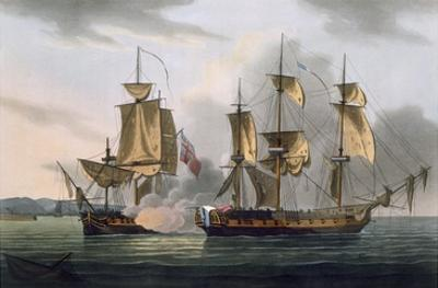 Capture of La Reunion, October 21st 1793, from 'The Naval Achievements of Great Britain'