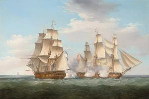 H.M.S. Ethalion in Action with the Spanish Frigate Thetis Off Cape Finisterre by Thomas Whitcombe