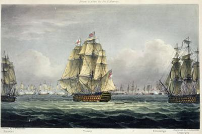 HMS Victory Sailing For French Line, Battle of Trafalgar, 1805, Engraved, T. Sutherland, Pub.1820