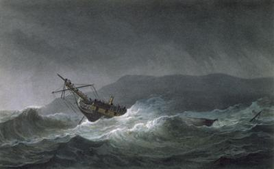 Loss of the Blanche, Off Abrevack, 4th March, 1807, Engraved by T. Sutherland