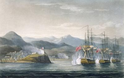 The Squadron under the Command of Sir J. Brisbane Attacking Fort Maurigio, on 12th April, 1814