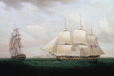 Two East Indiamen Off a Coast, Thomas Whitcombe, C1850