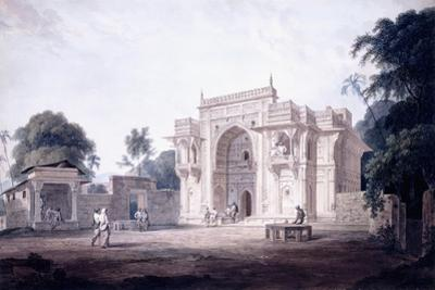 A Gate Leading to a Mosque, Chunargarh, Uttar Pradesh, C. 1789-90 (Pencil and W/C) by Thomas & William Daniell