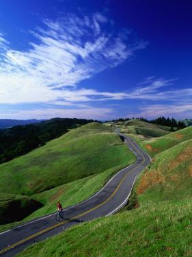 Bicycle Rider on Long and Winding Road, Mount Tamalpais, California, USA by Thomas Winz