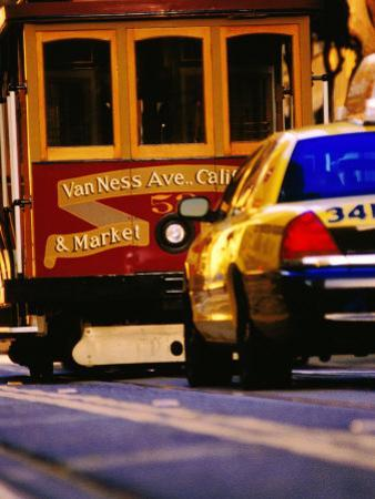 Cable Car and Taxi on California Street, San Francisco, U.S.A.