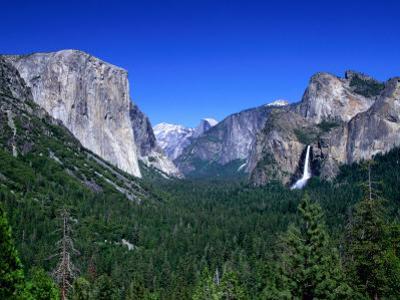 Distant Bridaleveil Falls in the Yosemite National Park, Yosemite National Park, California