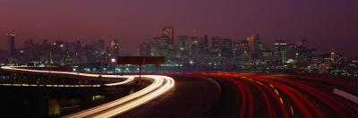 Freeway with the City in the Background, San Francisco, California, USA