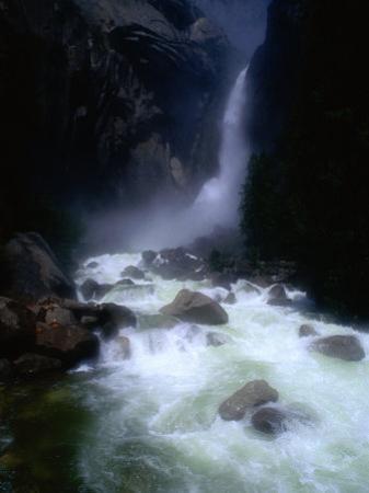 Water from Yosemite Falls Thunders into the Merced River Below, Yosemite Nat. Park, California, USA
