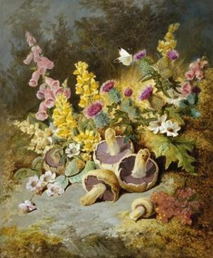 Still Life of Floxgloves, Mushrooms, Snapdragons, and Thistles by Thomas Worsey