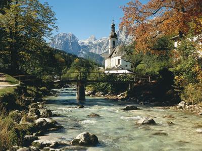 Germany, Berchtesgadener Land District, Ramsau, Church, Brook, Reiter Alpe