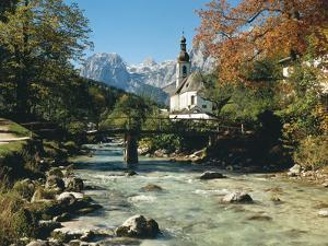 Germany, Berchtesgadener Land District, Ramsau, Church, Brook, Reiter Alpe by Thonig