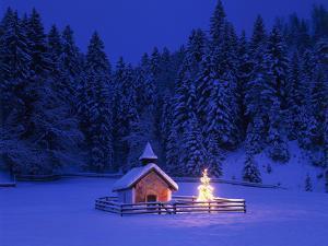 Germany, Upper Bavaria, Elmau, Chapel, Christmas Tree, Evening, Winter by Thonig
