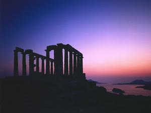 Greece, Peloponnes, Cape Sunion, Poseidon Temple, Silhouette, Dusk by Thonig