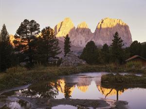 Italy, South Tyrol, Dolomites, Langkofel, Sella, Pordoijoch, Lake, Morning Mood by Thonig