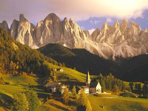 Italy, South Tyrol, Villn?Tal, St. Magdalena, Mountains, 'Geislerspitzen', Autumn by Thonig