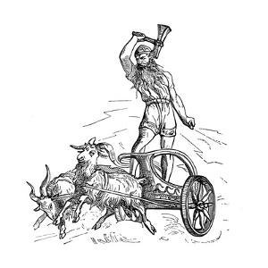 Thor Riding in Chariot Drawn by Goats and Wielding His Hammer