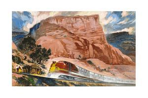 A Super Chief Train Speeds Through a Canyon on the Navajo Reservation by Thornton Oakley
