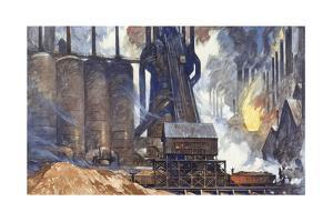 A View of an American Steel Mill and its Smoke Stacks by Thornton Oakley