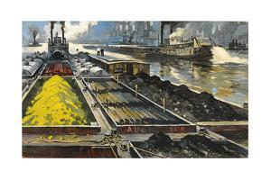 Barges Full of Raw Materials Travel Up and Down the Mississippi River by Thornton Oakley