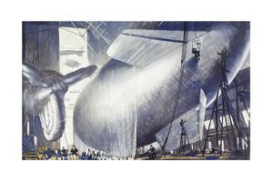 Blimps and Barrage Balloons are Made for the War by Thornton Oakley