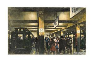 Commuters Hurry on a Crowded Subway Station Platform by Thornton Oakley