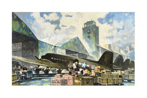 Men Load Freight onto Military Air Transport Planes by Thornton Oakley