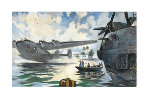 Servicemen Watch a Military Seaplane Taking Off from Water by Thornton Oakley