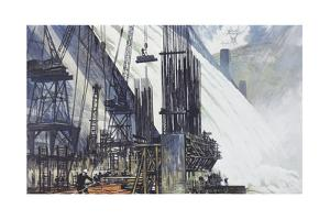 The Coulee Dam Produces Energy to Fuel Factories by Thornton Oakley