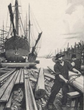 """""""The Old Shipyard"""", a Carpenter Shapes the Timbers of a Sailing Vessel by Thornton Oakley"""