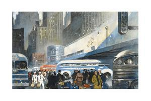 Travelers Walk Past Crowded Bus Terminal by Thornton Oakley