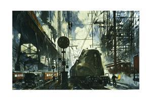 Webs of Wires and Transformers Feed Power to Locomotives by Thornton Oakley
