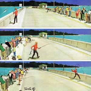 """Bridge Fishing"", August 8, 1959 by Thornton Utz"
