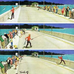 """Bridge Fishing"", August 8, 1959 by Thornton Utz"