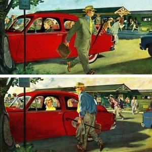 """""""Coming and Going to Work"""", June 28, 1952 by Thornton Utz"""