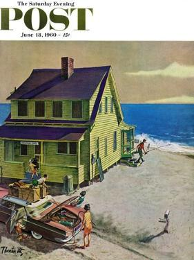 """""""Fathers Off Fishing,"""" Saturday Evening Post Cover, June 18, 1960 by Thornton Utz"""
