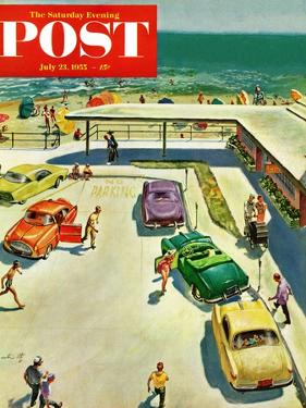 """""""Flat Tire at the Beach"""" Saturday Evening Post Cover, July 23, 1955 by Thornton Utz"""