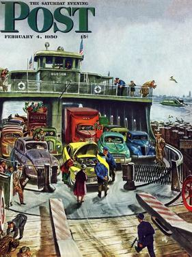"""""""Hudson Ferry"""" Saturday Evening Post Cover, February 4, 1950 by Thornton Utz"""