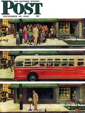"""""""Missed the Bus,"""" Saturday Evening Post Cover, September 10, 1949 by Thornton Utz"""