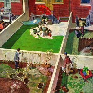 """""""Painting the Patio Green"""", May 2, 1953 by Thornton Utz"""