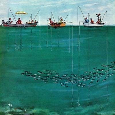 """""""School of Fish Among Lines"""", August 7, 1954 by Thornton Utz"""